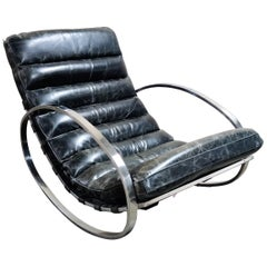 Vintage Leather Rocking Chair, 1970s