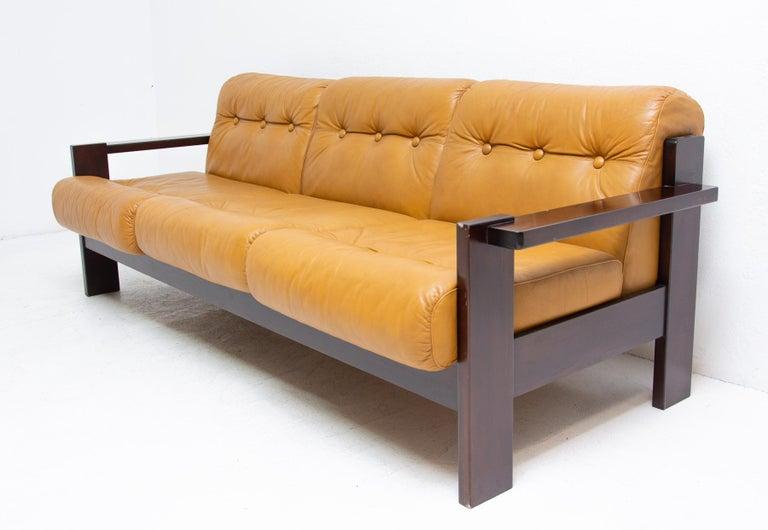 vintage leather scandinavian style living room set 1980s