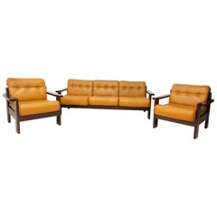 Vintage Leather Scandinavian Style Living Room Set, 1980s