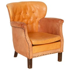 Vintage Leather Small Scale Wingback Club Chair