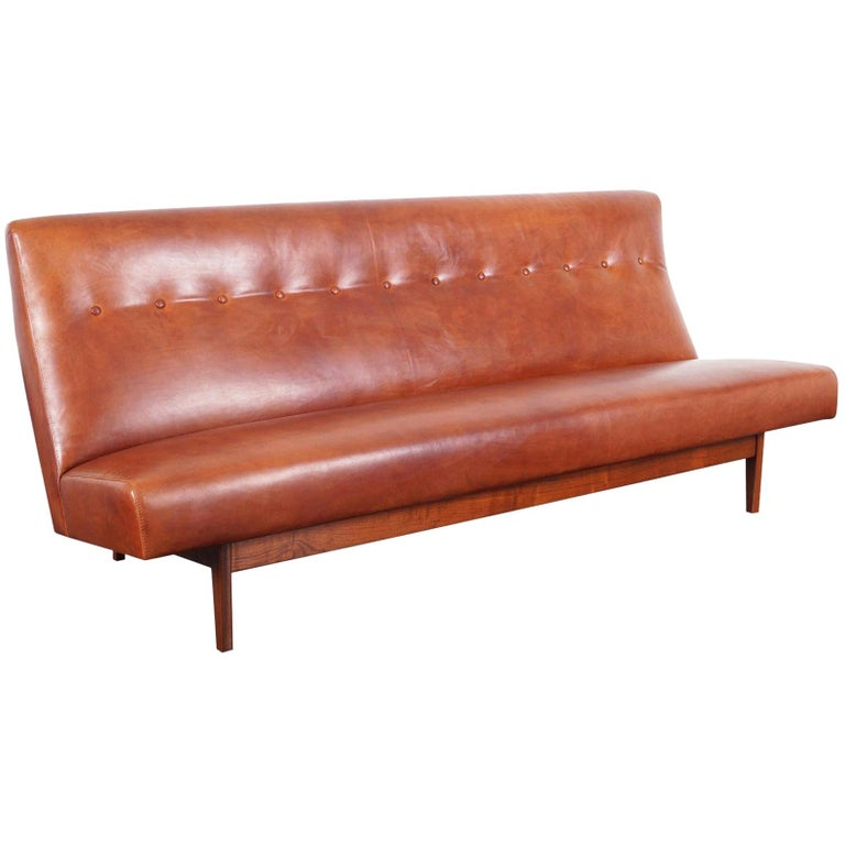 Vintage Leather Sofa by Jens Risom For Sale