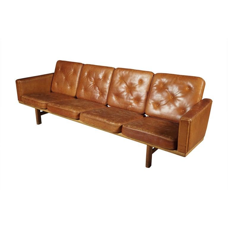 Hans Wegner Model 236 Denmark 1950s, Vintage Leather Sectional Sofa