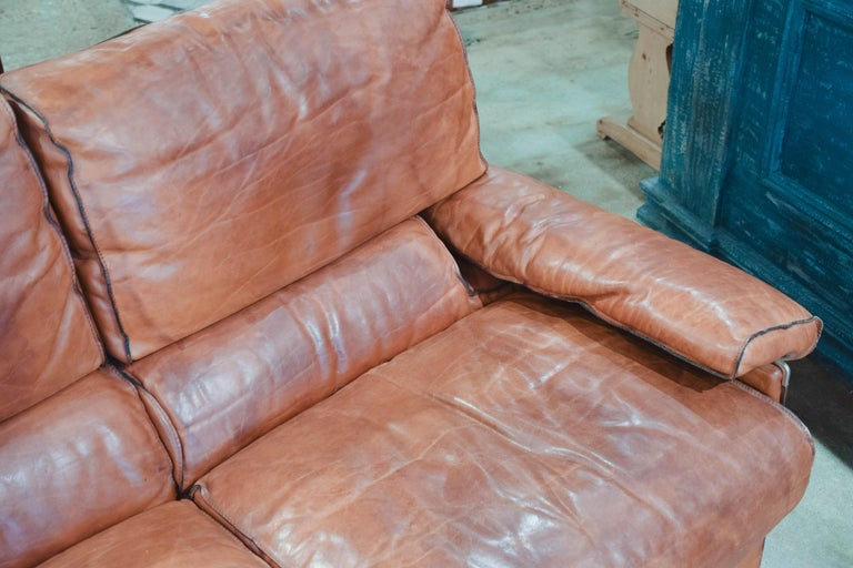 Vintage Leather Sofa in the Style of Arcon 6