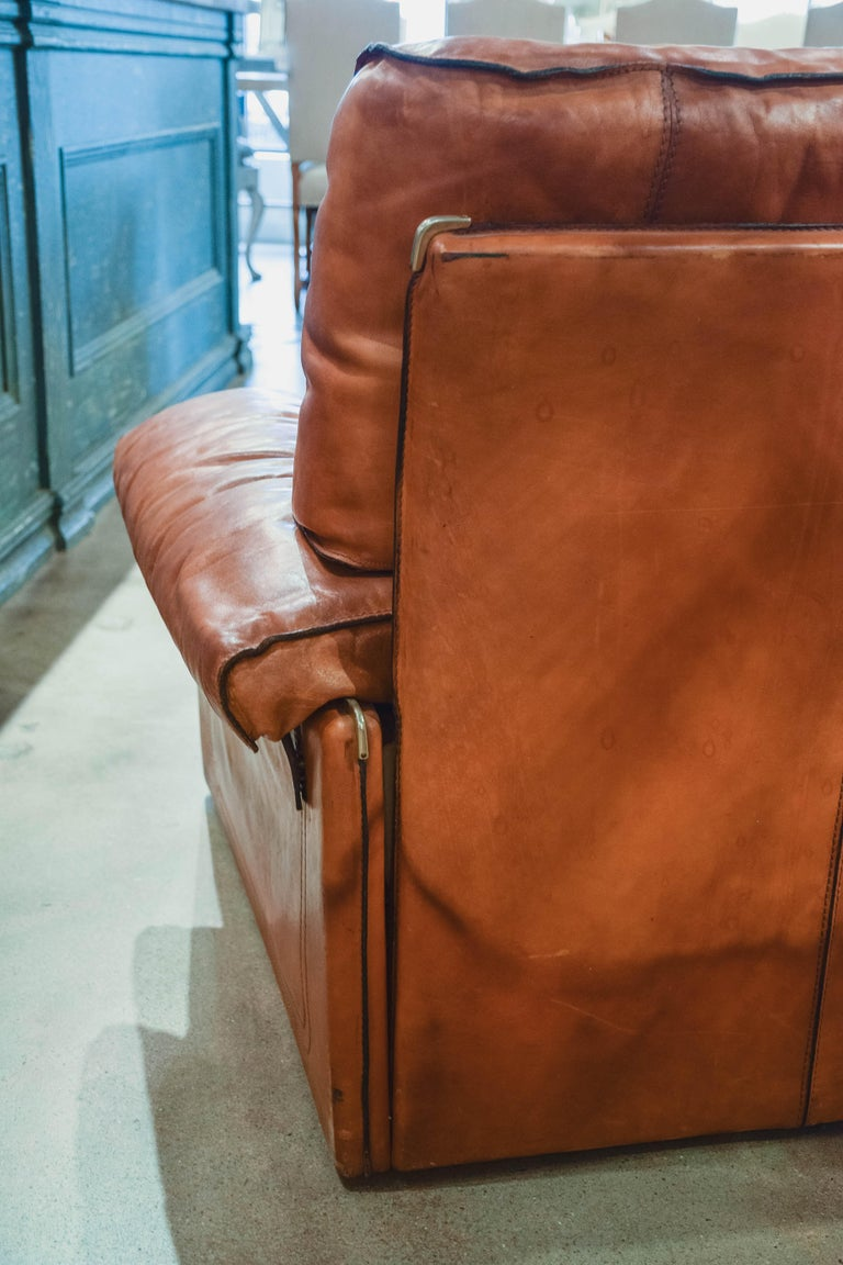 Vintage Leather Sofa in the Style of Arcon 7