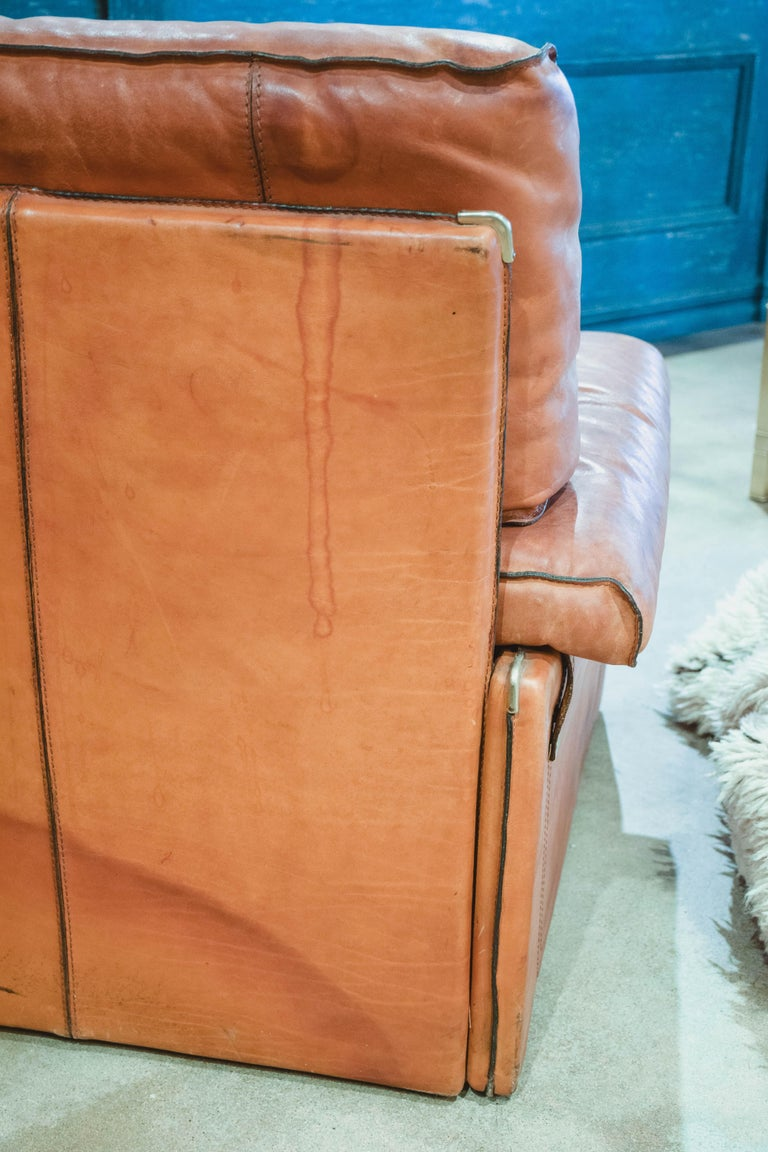 Vintage Leather Sofa in the Style of Arcon 8