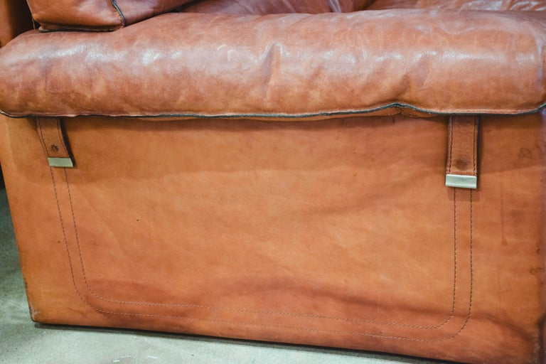 Italian Vintage Leather Sofa in the Style of Arcon