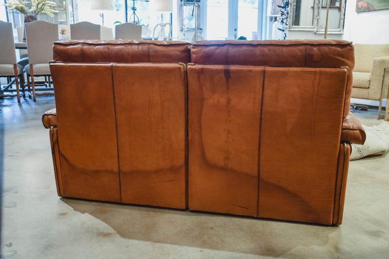 Vintage Leather Sofa in the Style of Arcon In Good Condition In Houston, TX