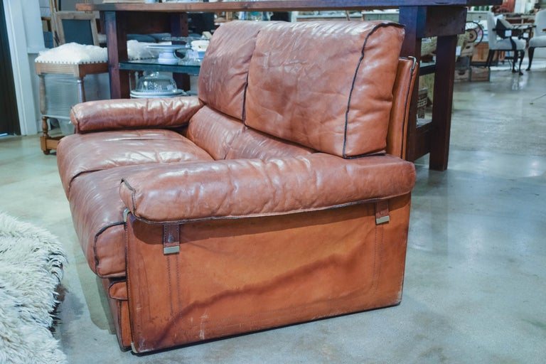 20th Century Vintage Leather Sofa in the Style of Arcon