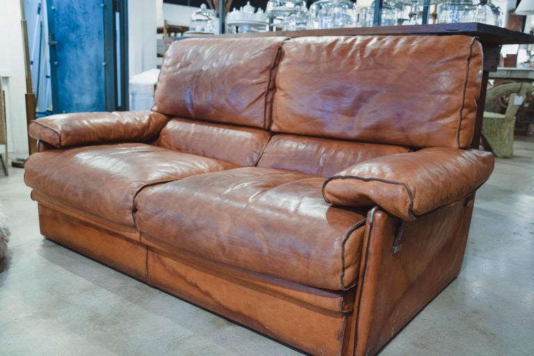 Vintage Leather Sofa in the Style of Arcon 3