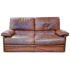 Vintage Leather Sofa in the Style of Arcon