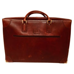 "Vintage Leather Suitcase ""La Bagagerie Paris"" Burgundy Bordeaux Luggage"