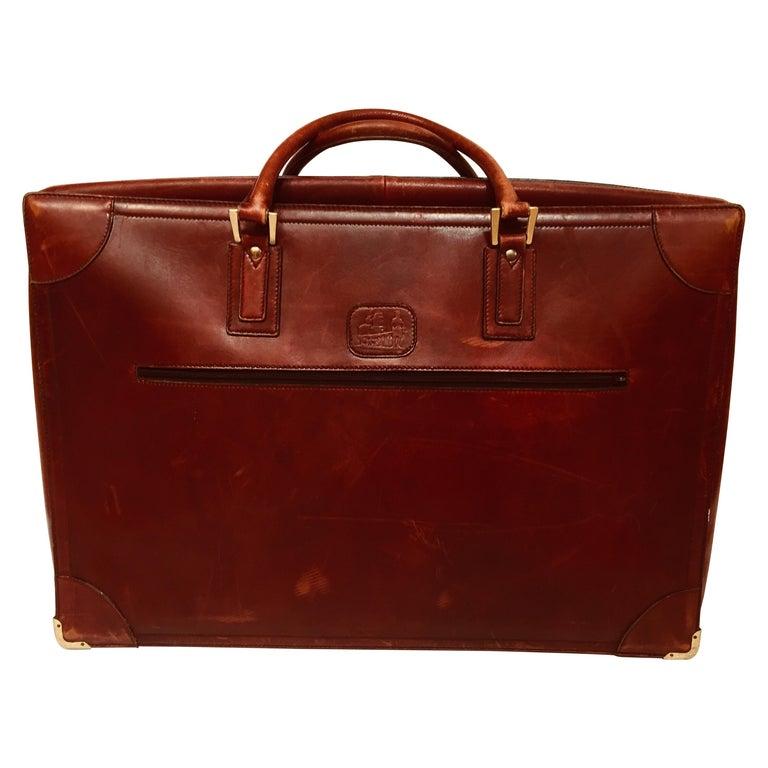 """Vintage Leather Suitcase """"La Bagagerie Paris"""" Burgundy Bordeaux Luggage For Sale"""