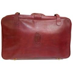 """Vintage Leather Suitcase """"Les Must de Cartier"""" Burgundy Bordeaux Luggage"""