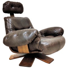 Vintage Leather Swivel Chair, 1960s