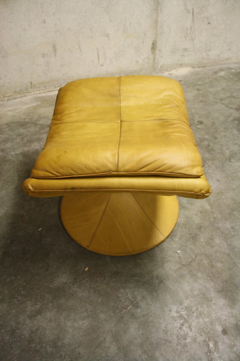 Vintage Leather Swivel Chair And Ottoman By Gerard Van Den