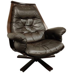 Vintage Leather Swivel Chair Attributed to Hans Brattrud, 1960s