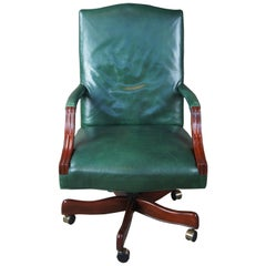 Vintage Leather Swivel Reclining Rolling Executive Desk Office Library Armchair