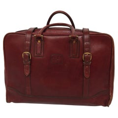 "Vintage Leather Travel Bag ""La Bagagerie Paris"" Burgundy Bordeaux Luggage 1970"