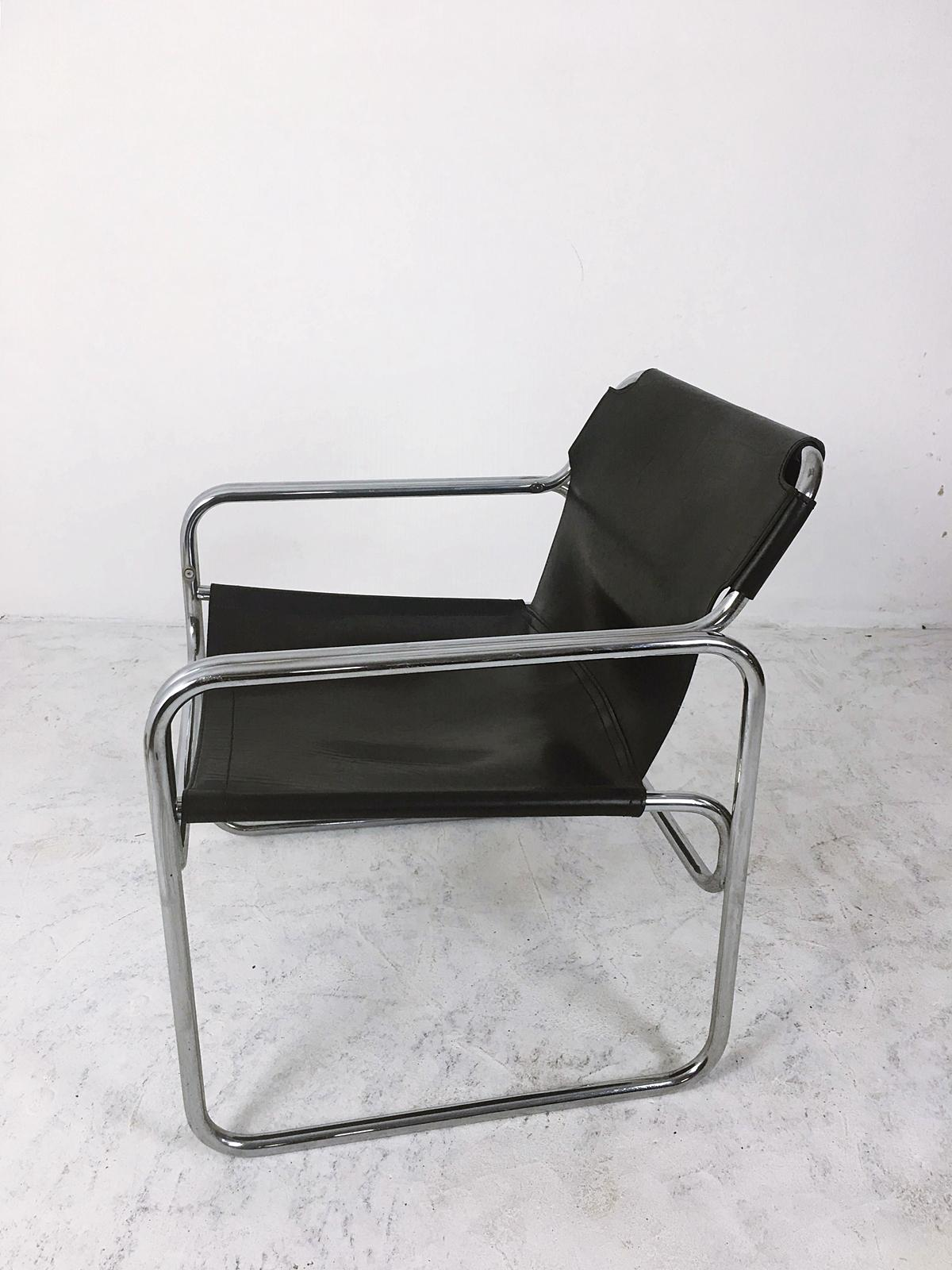 Vintage Leather and Tubular Steel Armchair Netherlands 1960s