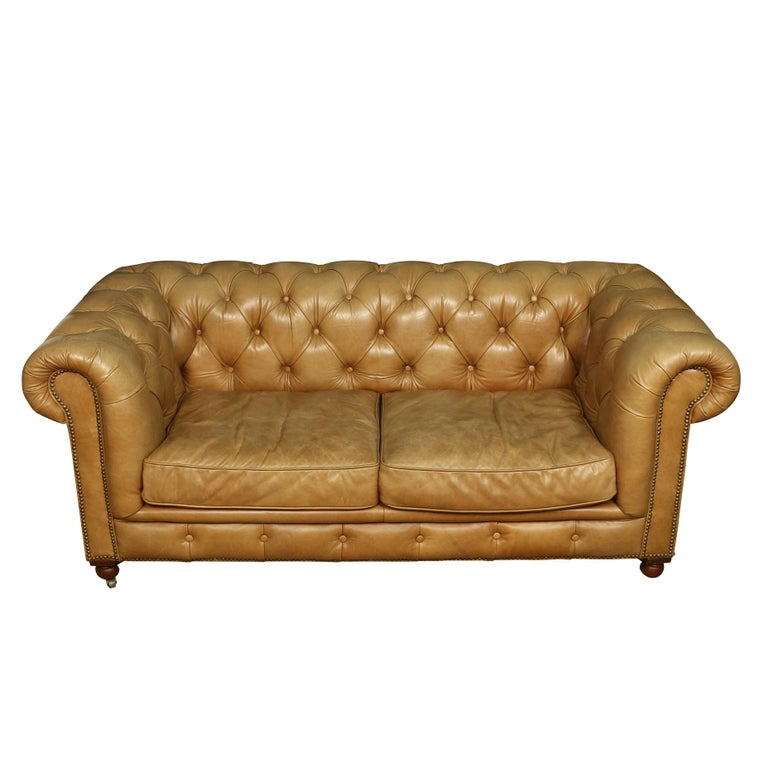 20th Century Vintage Leather Tufted Chesterfield Lovesesat For Sale
