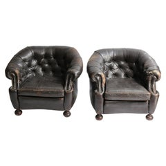 Vintage Leather Tufted Clubchair Pair