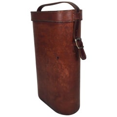 Vintage Leather Two Bottle Wine Carrier, circa 1940s-1950s