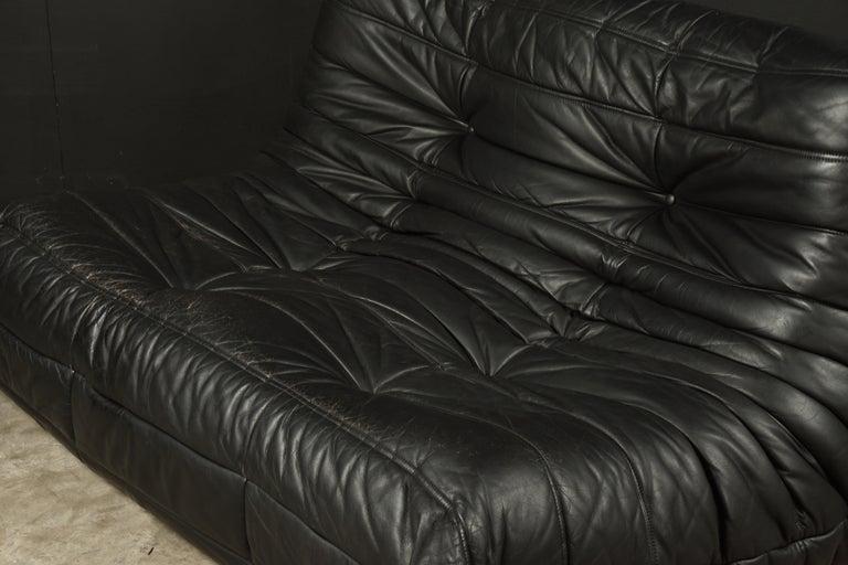 European Vintage Leather Two-Seat Sofa, Model