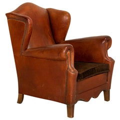Vintage Leather Wingback Armchair, Denmark