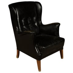 Vintage Leather Wingback Chair from Denmark, 1940s
