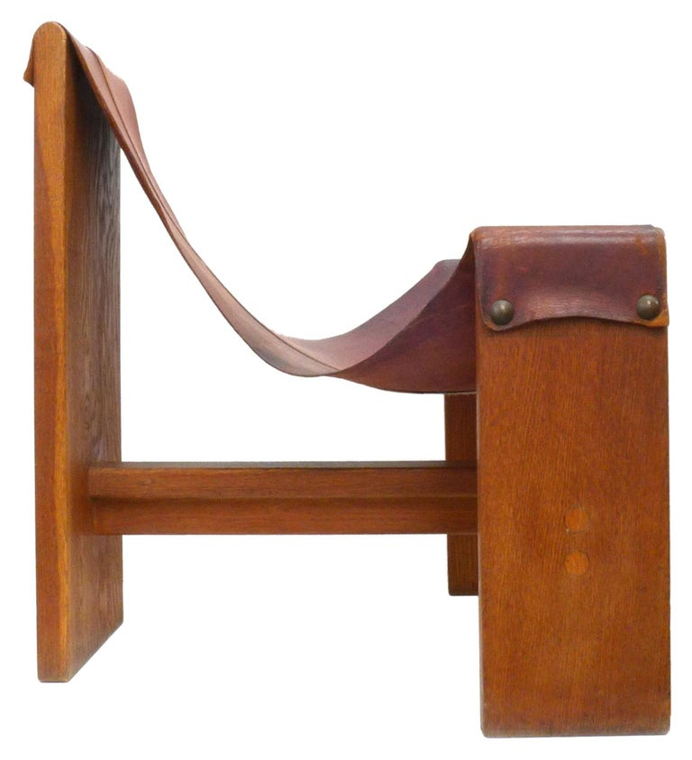 Organic Modern Vintage Leather, Wood and Brass Sling Chair For Sale