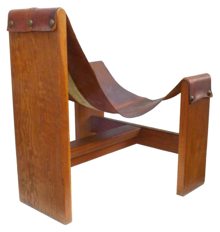American Vintage Leather, Wood and Brass Sling Chair For Sale