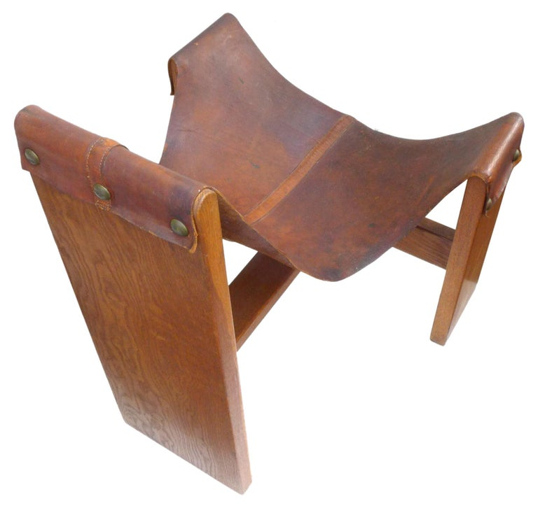 Vintage Leather, Wood and Brass Sling Chair In Good Condition For Sale In Los Angeles, CA