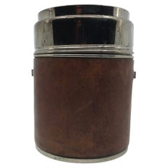 Vintage Leather Wrapped Ice Bucket