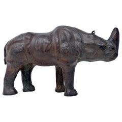 Vintage Leather Wrapped Rhinoceros Sculpture Midcentury