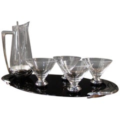 Vintage Lenox Spyro Decorative Metal 7 Piece Martini Set