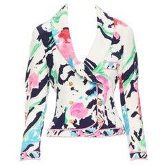 vintage LEONARD 90's floral pink rose print double breasted blazer jacket US0