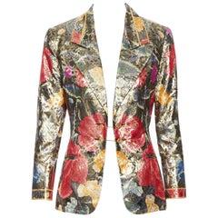 vintage LEONARD 90s oriental floral gold lurex sheen chained button blazer FR38