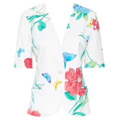 vintage LEONARD 90's white oriental floral butterflly print short sleeve jacket
