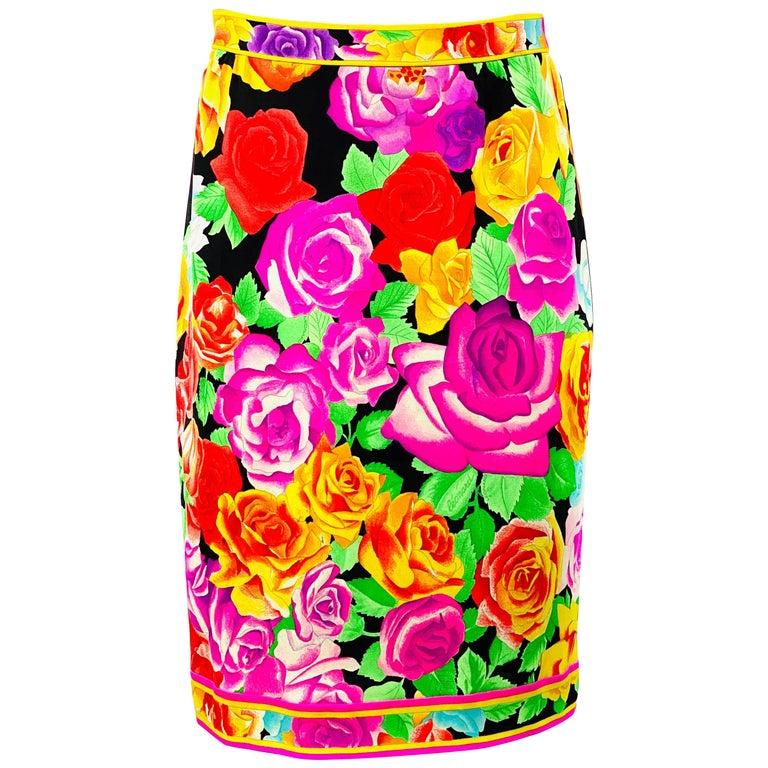 Vintage LEONARD Black and Multicolor Flower Pencil Skirt  For Sale