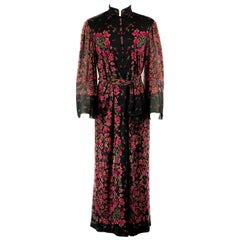Vintage LEONARD Black and Pink Floral Maxi Dress w/ Belt