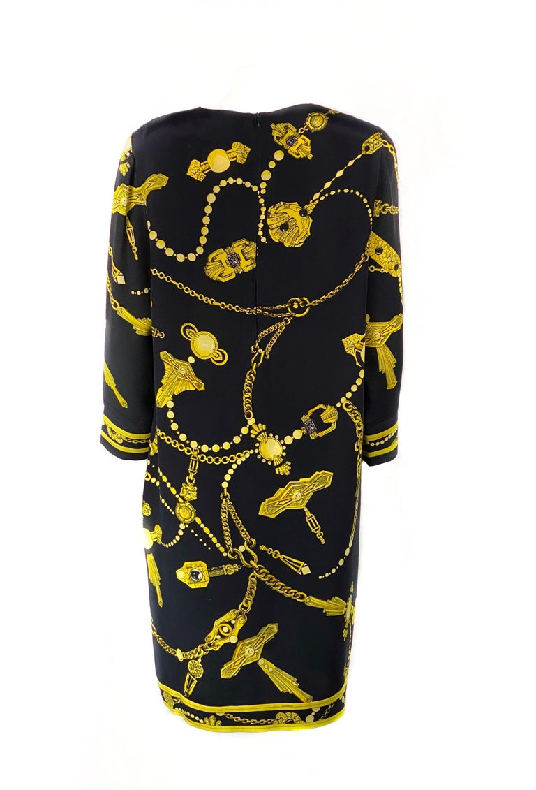 Vintage LEONARD Black and Yellow V- Neck Mini Dress  In Excellent Condition For Sale In  Beverly Hills, CA