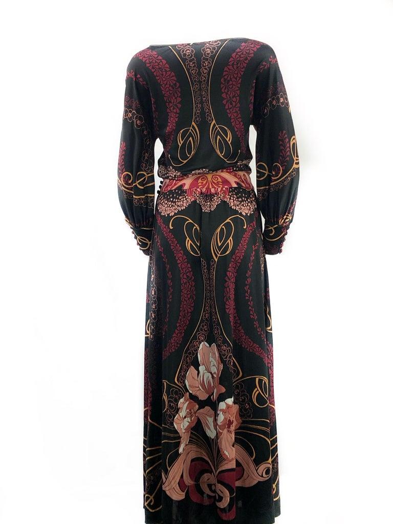 Vintage LEONARD Black Printed Long Sleeves Maxi Dress For Sale 1