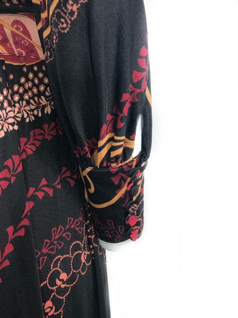 Vintage LEONARD Black Printed Long Sleeves Maxi Dress For Sale 3