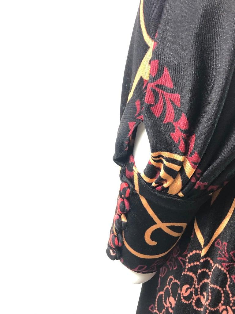 Vintage LEONARD Black Printed Long Sleeves Maxi Dress For Sale 4