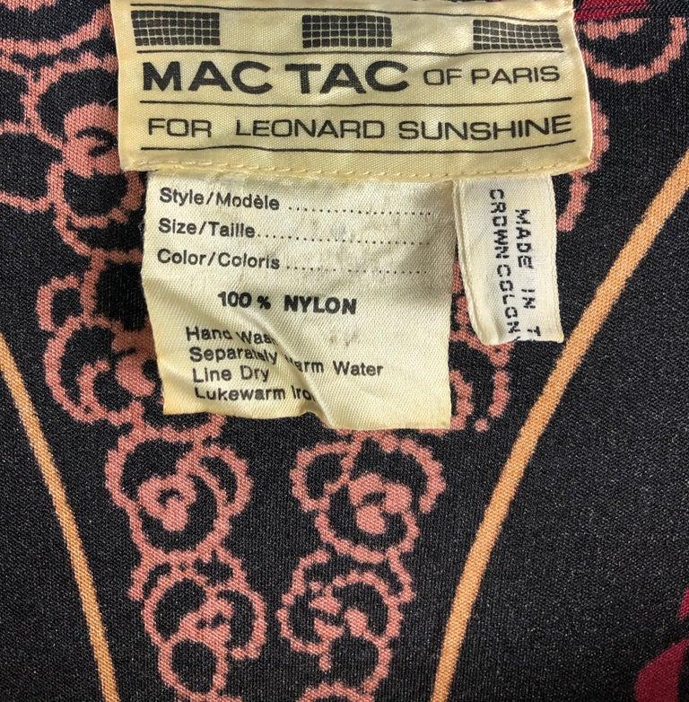 Vintage LEONARD Black Printed Long Sleeves Maxi Dress For Sale 5