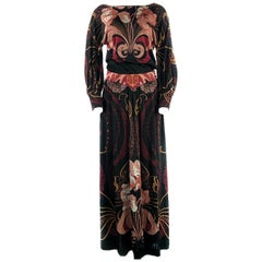 Vintage LEONARD Black Printed Long Sleevess Maxi Dress