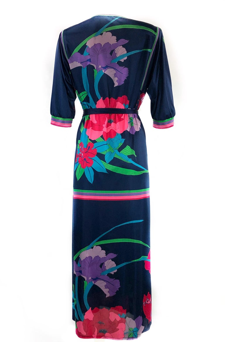 "Vintage LEONARD Dark Blue/ Navy Floral 3/4 Sleeve Belted Maxi Dress  Product details: Tags are missing Pink Leonard sign on the bottom of the right sleeve ¾ sleeves 17"" long Belt measures 65"" long and 2.5"" wide  Made in France"