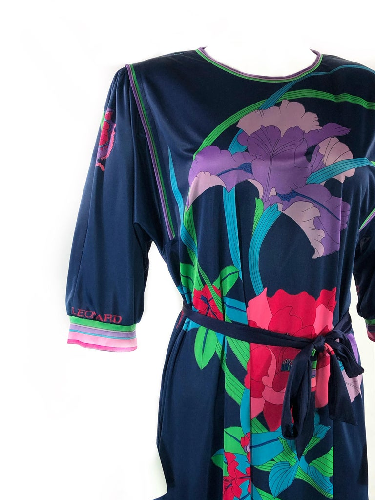 Vintage LEONARD Dark Blue/ Navy Floral 3/4 Sleeve Belted Maxi Dress In Excellent Condition For Sale In  Beverly Hills, CA