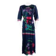 Vintage LEONARD Dark Blue/ Navy Floral 3/4 Sleeve Belted Maxi Dress