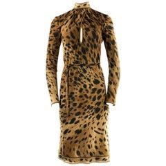 Vintage LEONARD Leopard Print Turtle Neck Long Sleeve Dress Size FR38